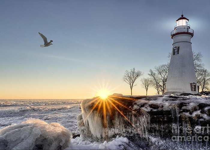 Sunrise Greeting Card featuring the photograph The Historic Marblehead Lighthouse In by Michael Shake