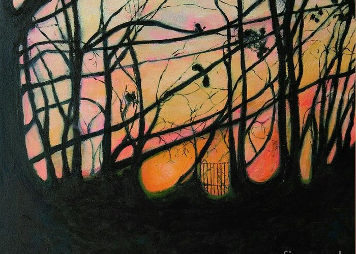 Trees Greeting Card featuring the painting The In Between by Caroline Cunningham