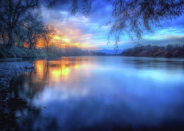 Anderson Greeting Card featuring the photograph The Last Light Sunset On The Sacramento River by Marnie Patchett