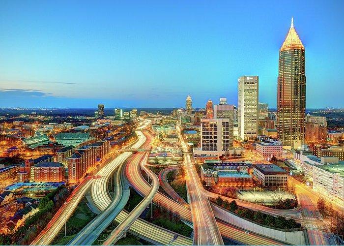 Atlanta Greeting Card featuring the photograph The Lifeblood Of Atlanta by Photography By Steve Kelley Aka Mudpig