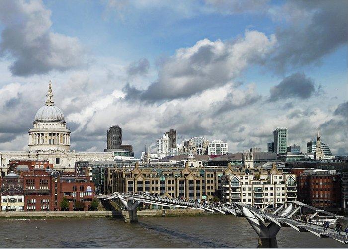 London Millennium Footbridge Greeting Card featuring the photograph The London Skyline Towards St Pauls by Eyespy
