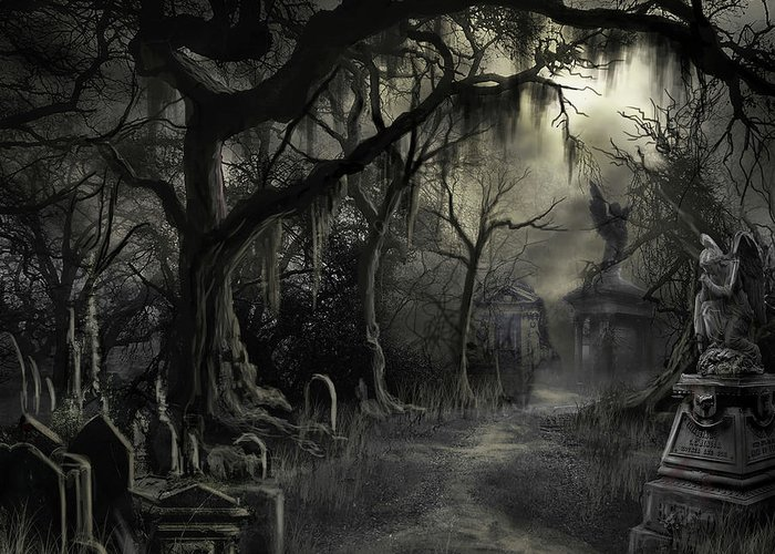 Cemetery Greeting Card featuring the painting The Lost Cemetery by James Christopher Hill