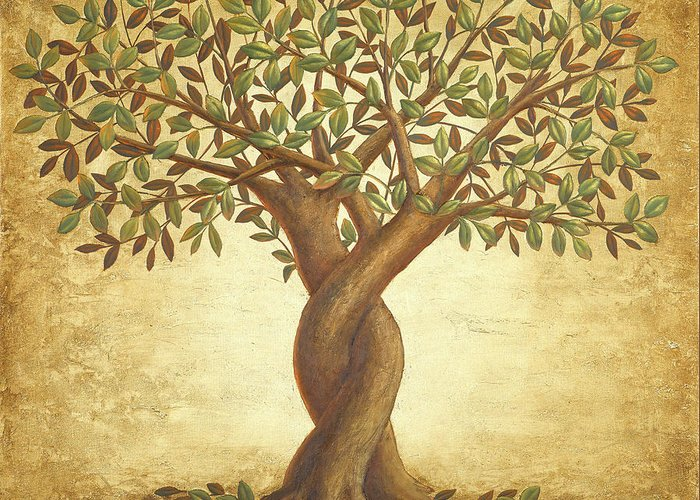 Love Tree Greeting Card featuring the painting The Love Tree / Autumn by Sobobak