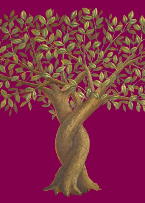 The Love Tree Greeting Card featuring the painting The Love Tree - cropped version by Sobobak