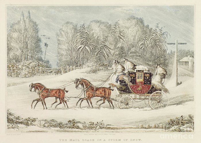 The Mail Coach In A Storm Of Snow Greeting Card featuring the painting The Mail Coach In A Storm Of Snow 1825 by James Pollard