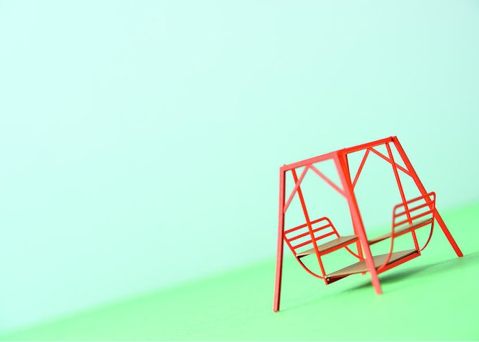 Paper Craft Greeting Card featuring the photograph The Model Of The Swing Made Of The Paper by Yagi Studio