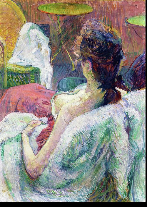 Henri De Toulouse-lautrec Greeting Card featuring the painting The Model Resting - Digital Remastered Edition by Henri de Toulouse-Lautrec