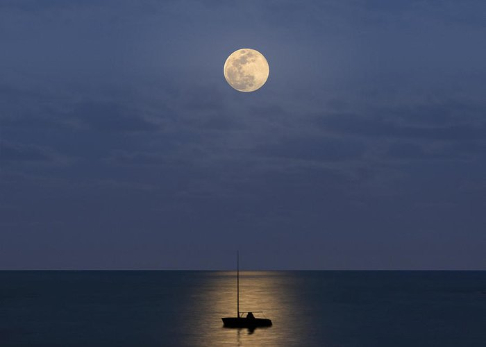 Sailboat Greeting Card featuring the photograph The Moon Guide Us by Carlos Gotay