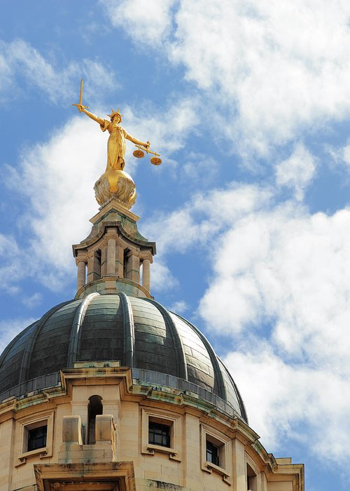 Statue Greeting Card featuring the photograph The Old Bailey, Central Criminal Court by Peter Dazeley