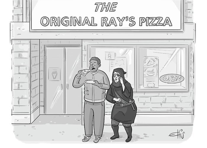 """""""i've Heard Tell Of A Ray's Even More Original."""" Ray's Original Pizza Greeting Card featuring the drawing The Original Ray's by Ellis Rosen"""