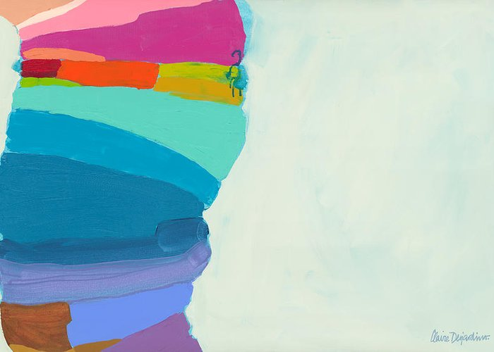 Abstract Greeting Card featuring the painting The Right Timing by Claire Desjardins