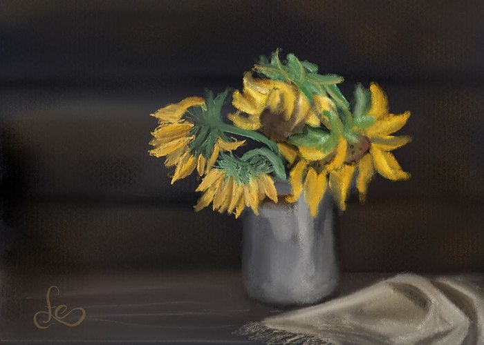 Greeting Card featuring the painting The Sun Flowers by Fe Jones