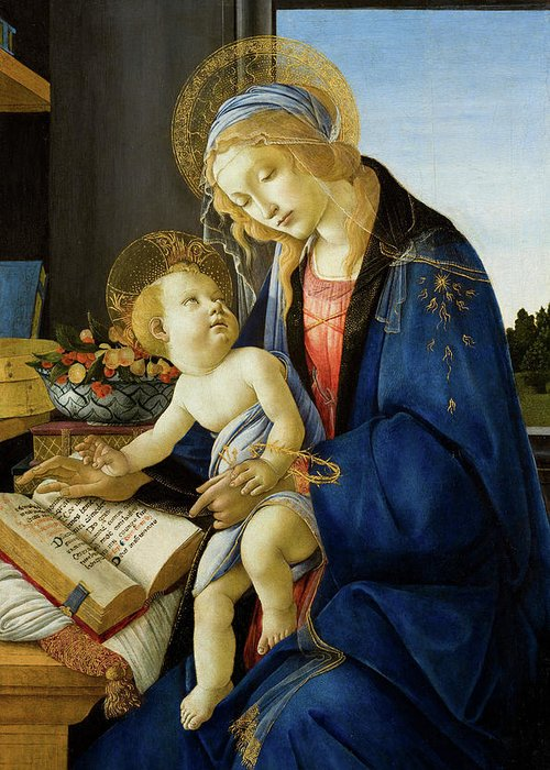 Sandro Botticelli Greeting Card featuring the painting The Virgin And Child, The Madonna Of The Book by Sandro Botticelli