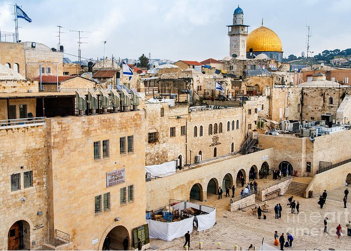 Historical Greeting Card featuring the photograph The Western Wall,temple Mount by Zhukov