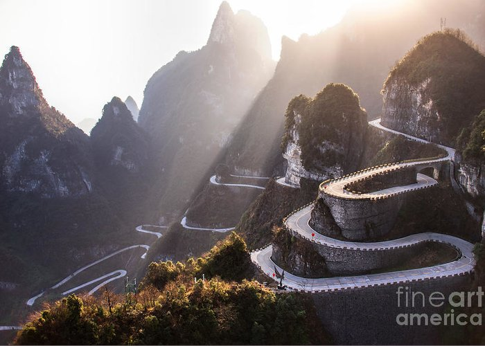 Door Greeting Card featuring the photograph The Winding Road Of Tianmen Mountain by Kikujungboy