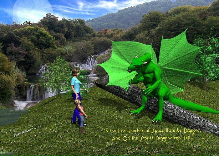 Greeting Card featuring the digital art There Be Dragons by Bob Shimer