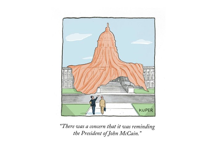 There Was A Concern That It Was Reminding The President Of John Mccain. Greeting Card featuring the painting There Was a Concern by Peter Kuper