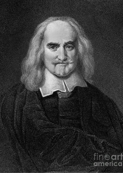 Historical Greeting Card featuring the drawing Thomas Hobbes English Philosopher, Engraving by European School