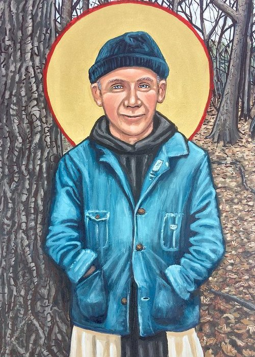 Greeting Card featuring the painting Thomas Merton by Kelly Latimore
