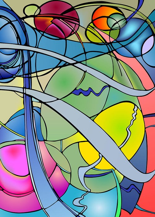 Nonobjective Greeting Card featuring the digital art Thought Patterns #2 by James Fryer