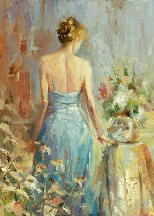 Woman Greeting Card featuring the painting Thoughtful by Steve Henderson