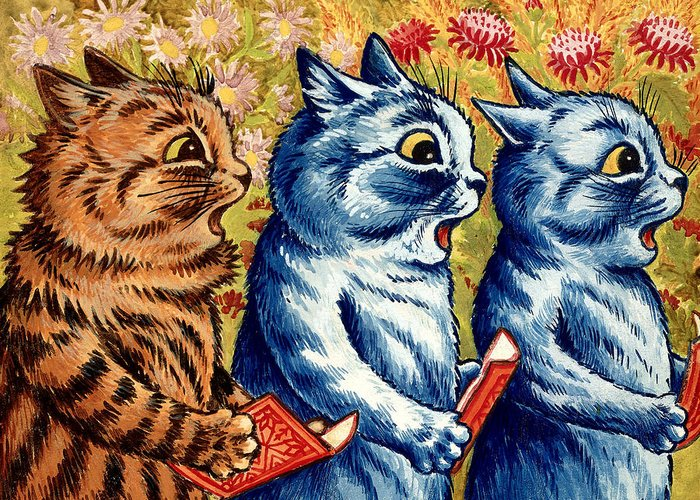Three Cats Singing Greeting Card For Sale By Louis Wain