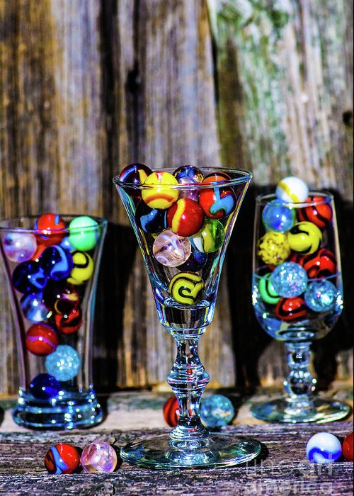Marbles Greeting Card featuring the photograph Three Marble Shot by Gerald Kloss