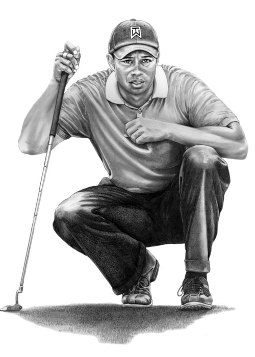 Pencil Greeting Card featuring the drawing Tiger Woods Crouching Tiger by Murphy Elliott