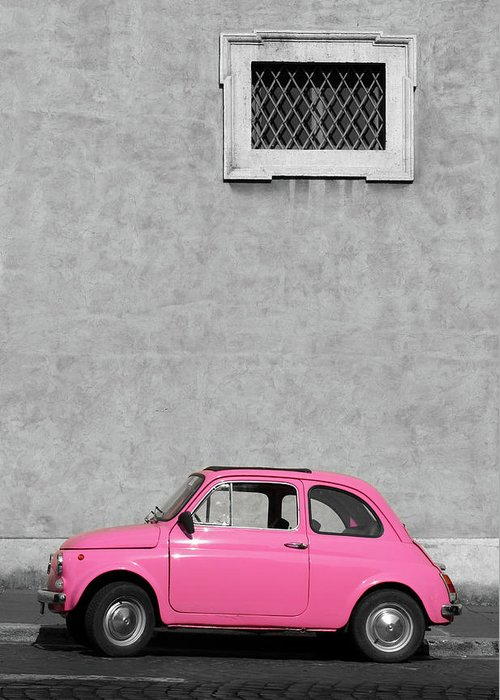 Sparse Greeting Card featuring the photograph Tiny Pink Vintage Car, Rome Italy by Romaoslo