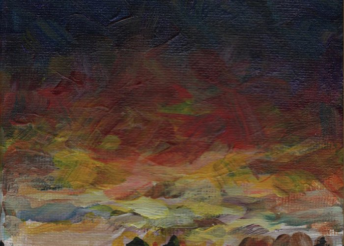 Sunset Greeting Card featuring the painting Tiny Sunset by Susan Moore