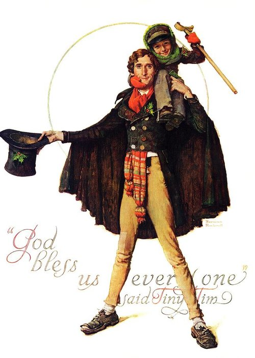 Christmas Carol Greeting Card featuring the drawing Tiny Tim by Norman Rockwell