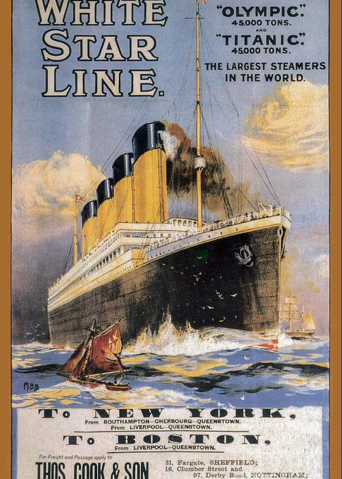 Titanic Advertising Poster Greeting Card featuring the photograph Titanic Advertising Poster by Jon Neidert