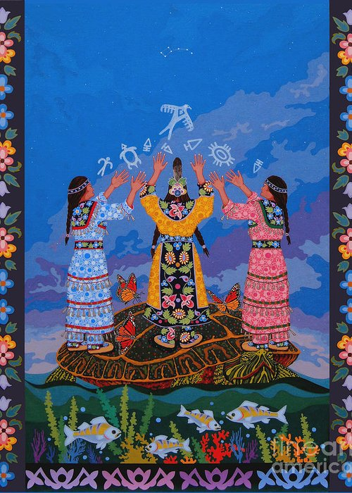 Indigenous Greeting Card featuring the painting Together We Over Come Obstacles by Chholing Taha