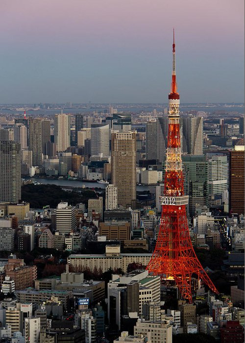 Tokyo Tower Greeting Card featuring the photograph Tokyo Tower At Dusk by Lluís Vinagre - World Photography