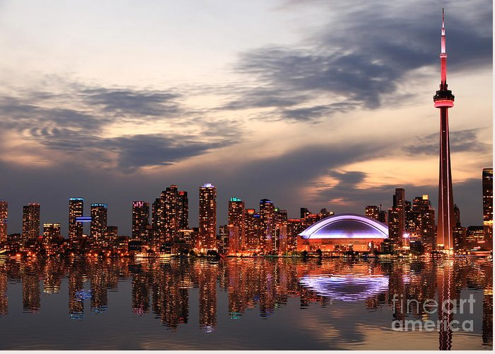 Office Greeting Card featuring the photograph Toronto Skyline At Sunset, Ontario by Inga Locmele