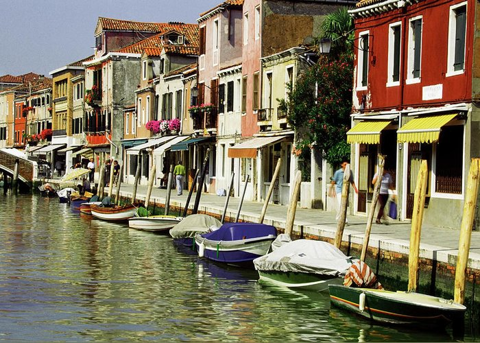 Row House Greeting Card featuring the photograph Tourists Along A Canal, Murano, Venice by Medioimages/photodisc