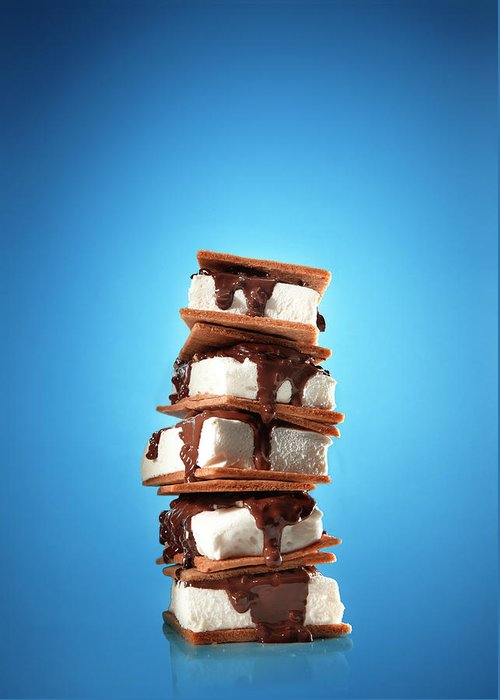 Temptation Greeting Card featuring the photograph Tower Of Smores Treats by Annabelle Breakey