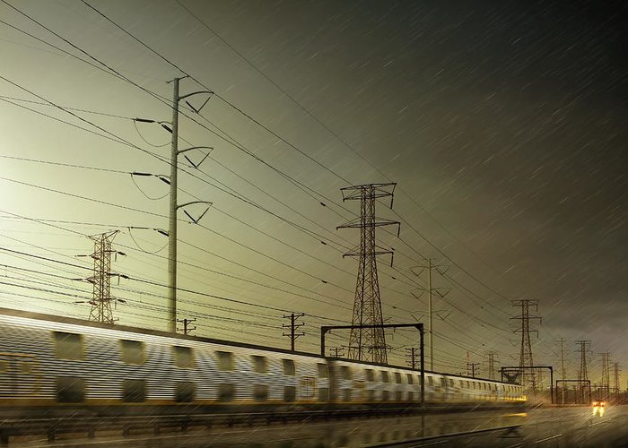 Train Greeting Card featuring the digital art Train Speeding By Power Lines by Chris Clor