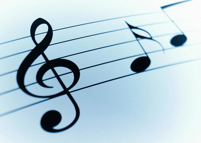 Sheet Music Greeting Card featuring the photograph Treble Clef And Notes by Adam Gault