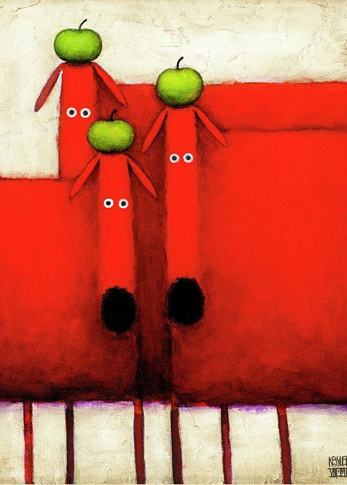 Tres Amigos Art Greeting Card featuring the painting Tres Amigos Art by Daniel Patrick Kessler