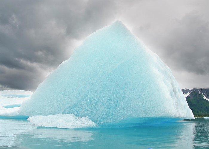 Iceberg Greeting Card featuring the photograph Triangular Iceberg On Gloomy Day, Bear by James + Courtney Forte