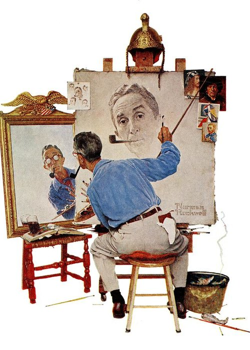 Artists Greeting Card featuring the drawing Triple Self-portrait by Norman Rockwell