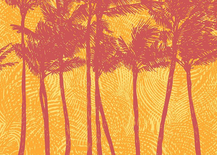 Palm Greeting Card featuring the digital art Tropical Coast With Palms. Vector by Jumpingsack