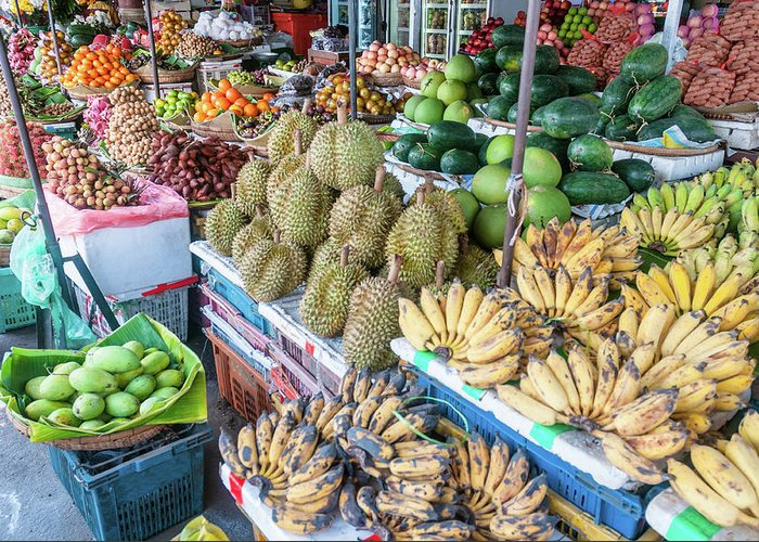Mango Fruit Greeting Card featuring the photograph Tropical Fruit At A Street Market In by Tbradford
