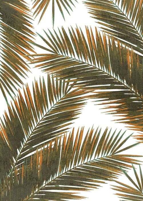 Tropical Palm Leaf Greeting Card featuring the mixed media Tropical Palm Leaf Pattern 6 - Tropical Wall Art - Summer Vibes - Modern, Minimal - Brown, Copper by Studio Grafiikka