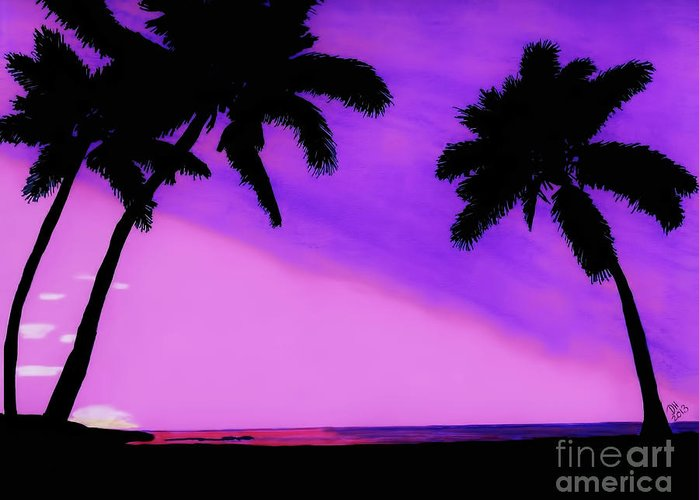 Sunset Greeting Card featuring the drawing Tropical Pink Sunset by D Hackett