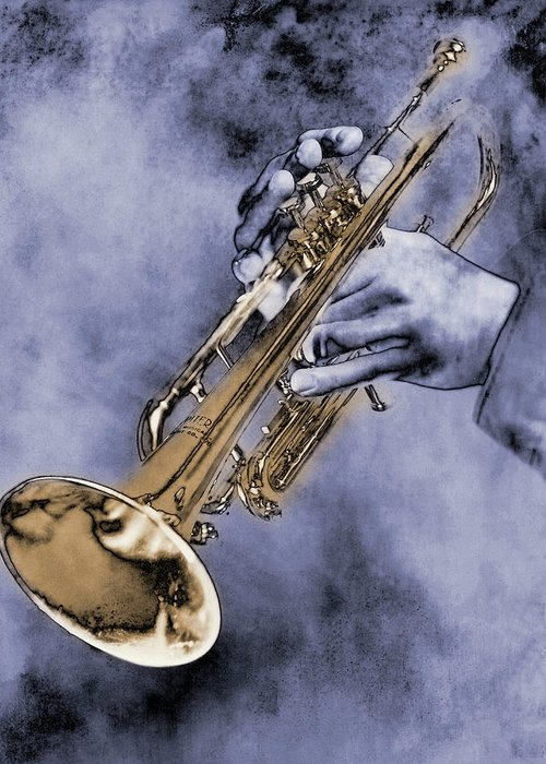 One Man Only Greeting Card featuring the digital art Trumpet Player by Nick White