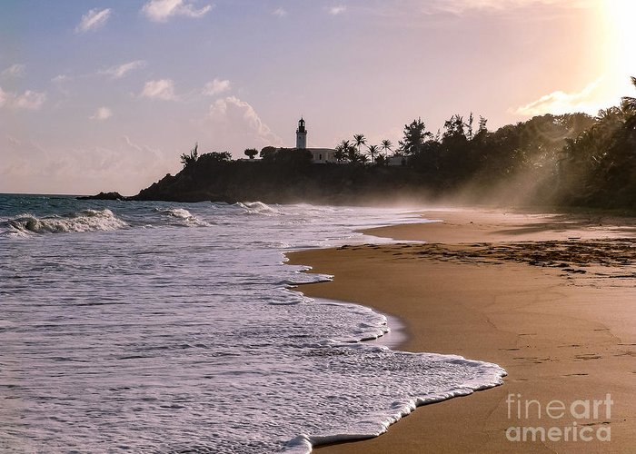 Ocean Greeting Card featuring the photograph Tuna Punta Lighthouse And Beach In Puerto Rico by G Matthew Laughton