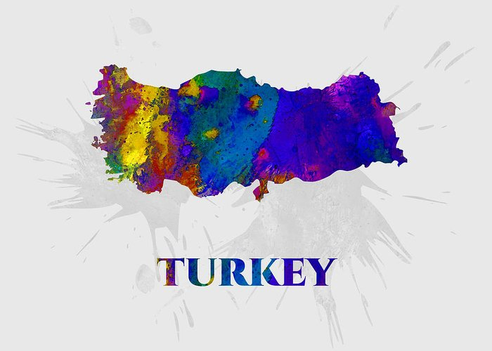 Turkey Greeting Card featuring the mixed media Turkey, Map, Artist Singh by Artist Singh MAPS
