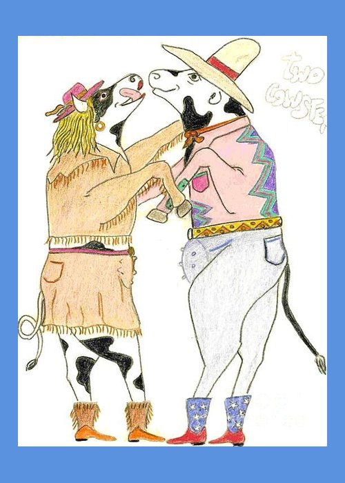 Art Greeting Card featuring the sculpture Two Cowsteppin' by Michael Pasko